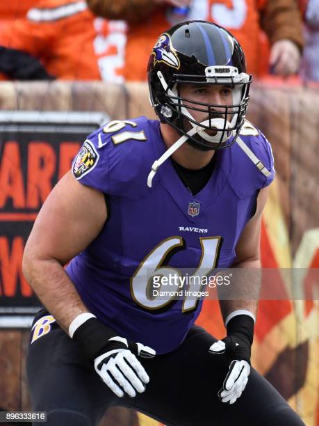 Offfensive lineman Luke Bowanko of the Baltimore Ravens stretches on the field prior to a game on December 17 2017 against the Cleveland Browns at...