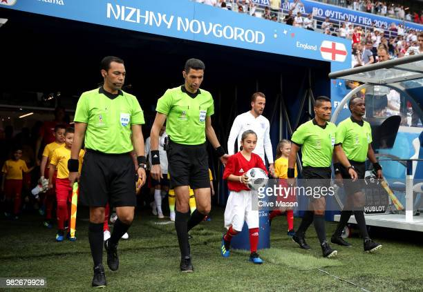Officals and Teams walk on the pitch prior to the 2018 FIFA World Cup Russia group G match between England and Panama at Nizhny Novgorod Stadium on...