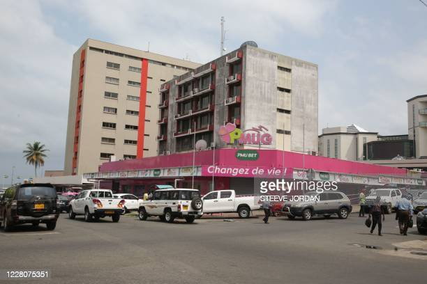 Office, a betting agency, is seen in Libreville on August 10, 2020. - Gabon celebrates 60 years of independence on August 17, 2020. From the time of...