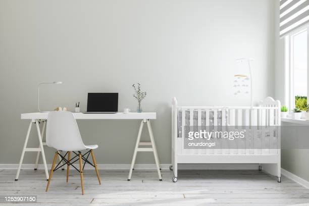 office at home with baby room - nursery bedroom stock pictures, royalty-free photos & images