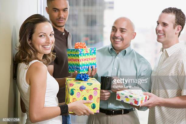 office birthday celebration - patrick grant stock pictures, royalty-free photos & images