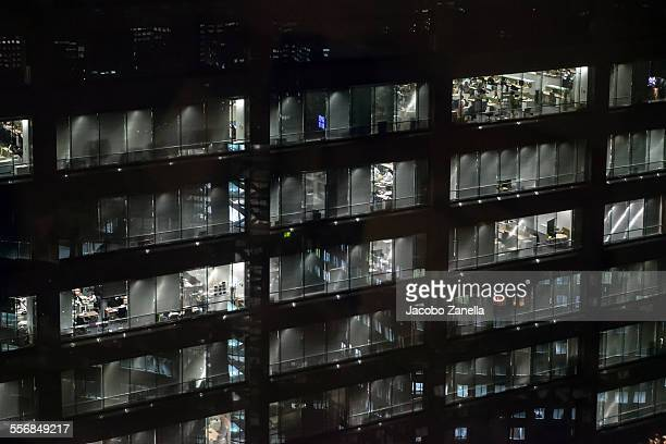 Office building at night, Tokyo, Japan