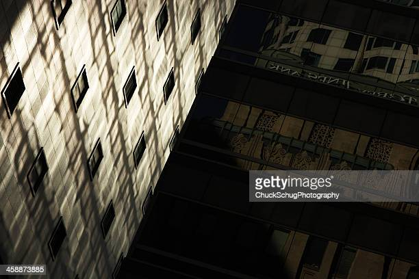 office building facade architecture lighting abstract - camera point of view stock photos and pictures