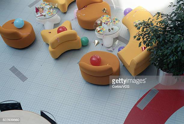 office building lobby after a party - messy table after party stock pictures, royalty-free photos & images