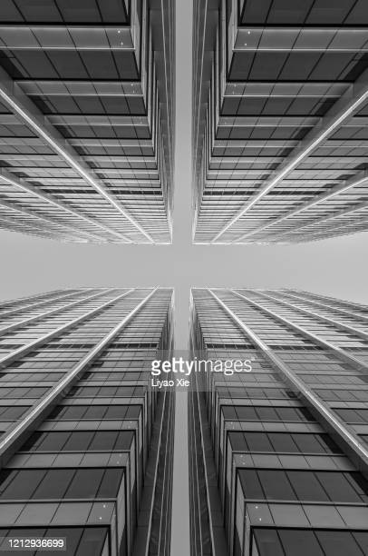 office building, low angel view - liyao xie stock pictures, royalty-free photos & images