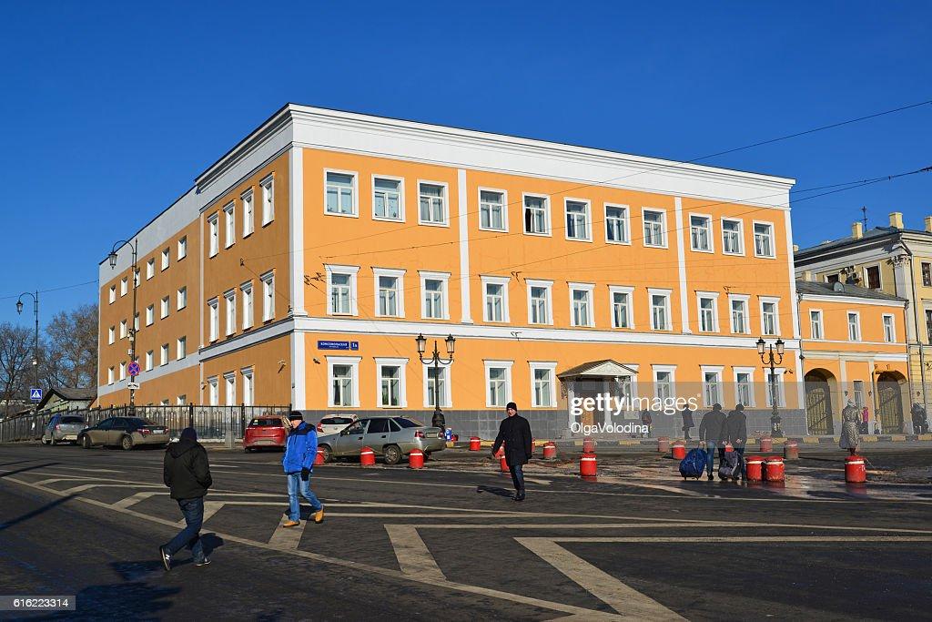 Office building on Komsomolskaya Square Building 1917 : Stock Photo