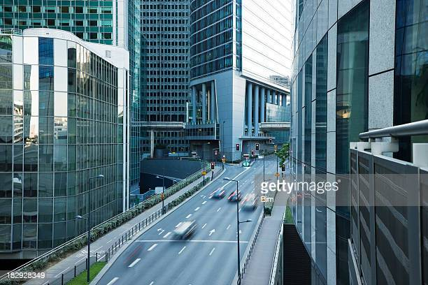 Office Buildings and Busy Street in Financial District, Paris, France
