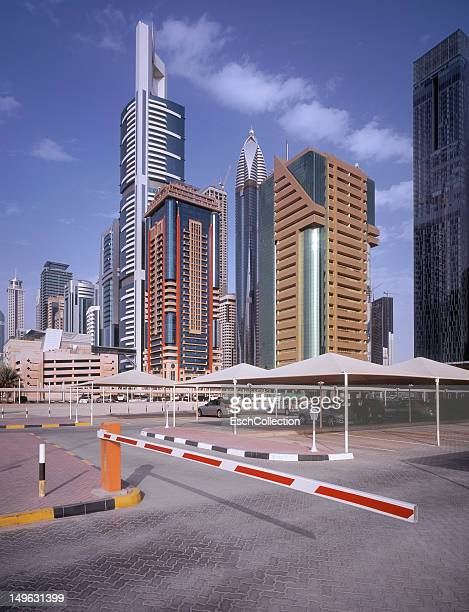Office buildings and parking lot in Dubai