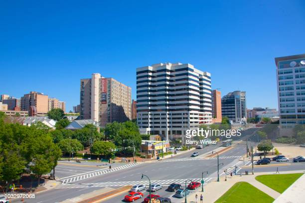office buildings and streets of downtown silver spring, maryland - silver spring stock pictures, royalty-free photos & images