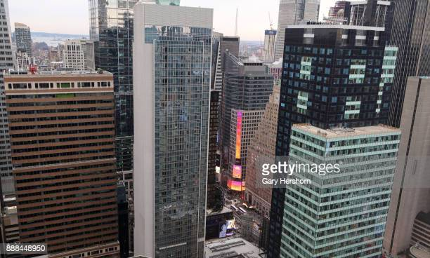 Office buildings around Times Square are seen from the 44th floor of a building on 6th Avenue on December 6 2017 in New York City