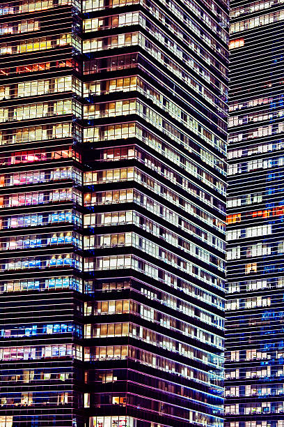 Office buildings at night, Singapore