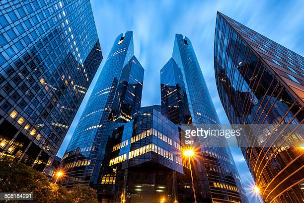 office buildings in financial district la defense, paris, france - financial district stock pictures, royalty-free photos & images