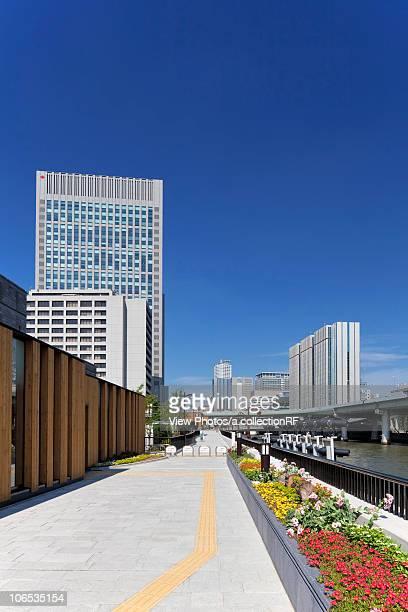 Office buildings, Nakanojima Garden bridge and Dojima  river, Osaka Prefecture, Honshu, Japan