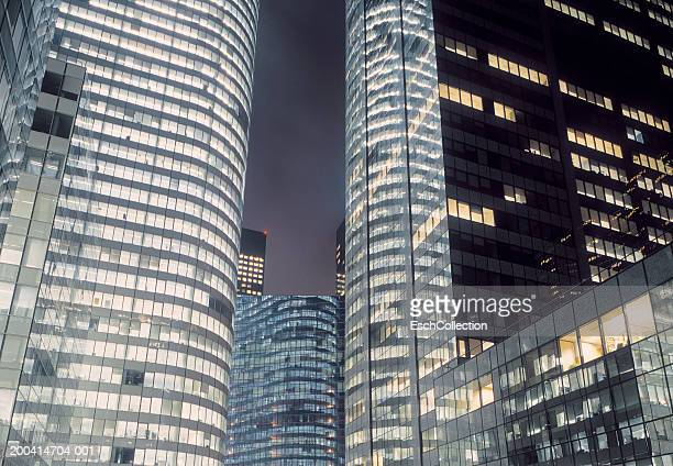 Office buildings, night, low angle (long exposure)
