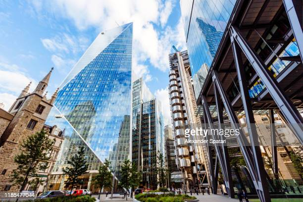 office buildings skyscrapers in city of london, england, uk - central london ストックフォトと画像