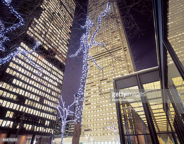 Office buildings with Christmas decoration.