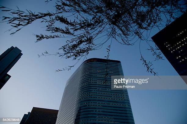 Office buldings in Shimbashi in Tokyo Japan Shimbashi is a bustling business district at the Southern end of Ginza