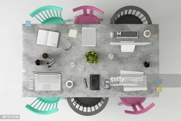Büro Business Team Schreibtisch Platz Knolling Kopiervorlage