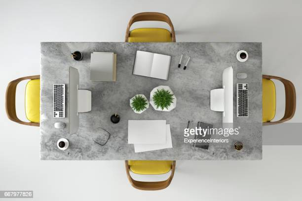 Office business team desk copy space knolling template