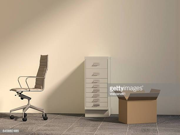 Office chair, drawer cabinet and cardboard box in an empty office, 3D Rendering