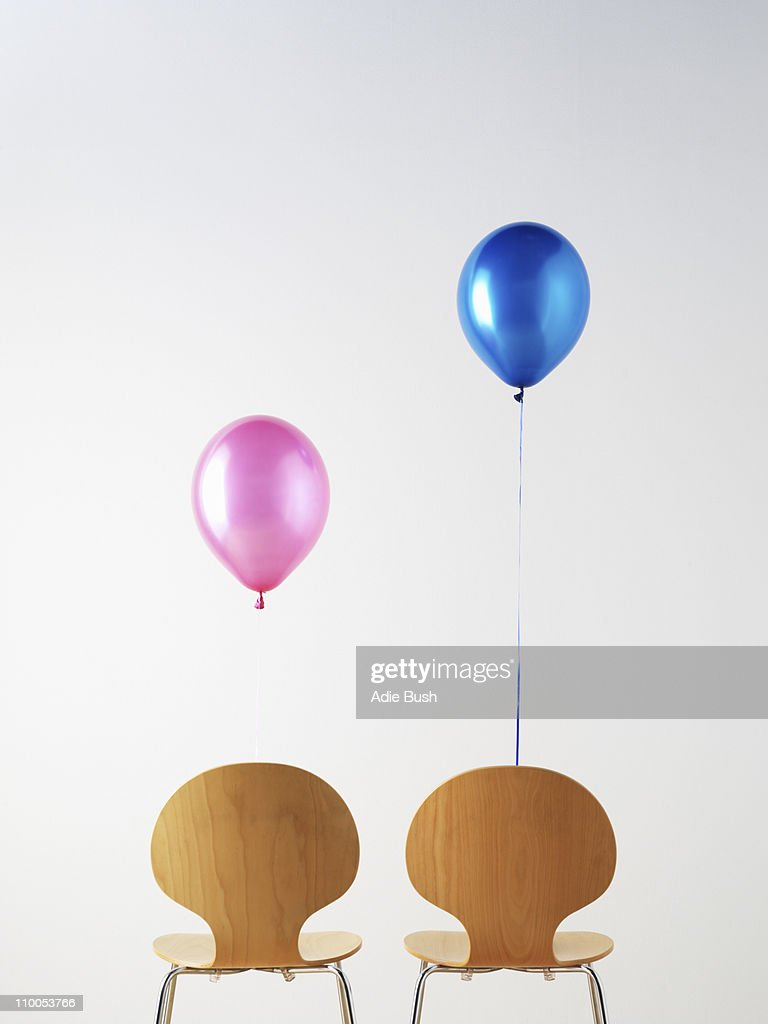Office Chairs and balloons : Stock Photo
