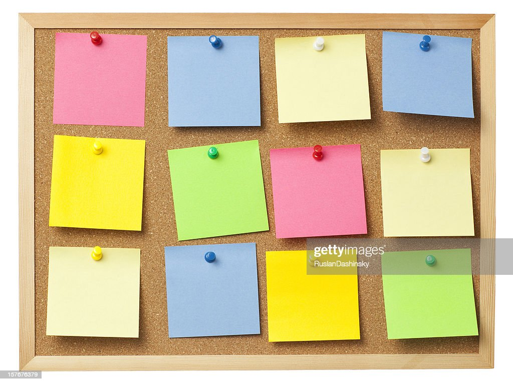 office cork boards. Office Cork Board Full Of Colored Memo Notes. : Stock Photo Boards