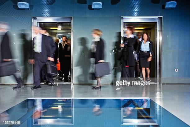 Office Corridor During Morning Rush Hour