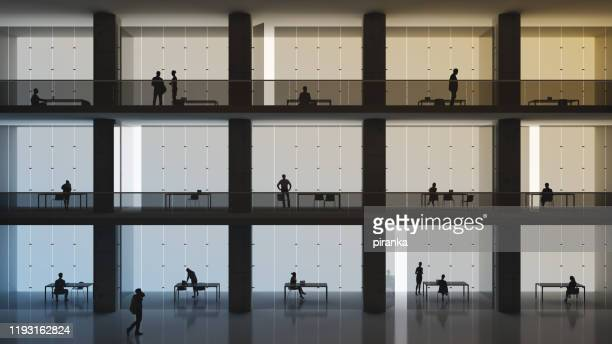 office cubicles - wide angle stock pictures, royalty-free photos & images