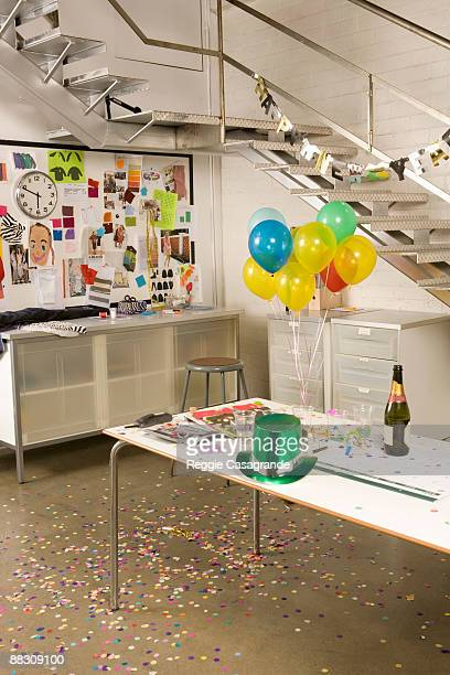 Office decorated for New Year's Eve celebration