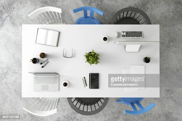 Office desk business group knolling