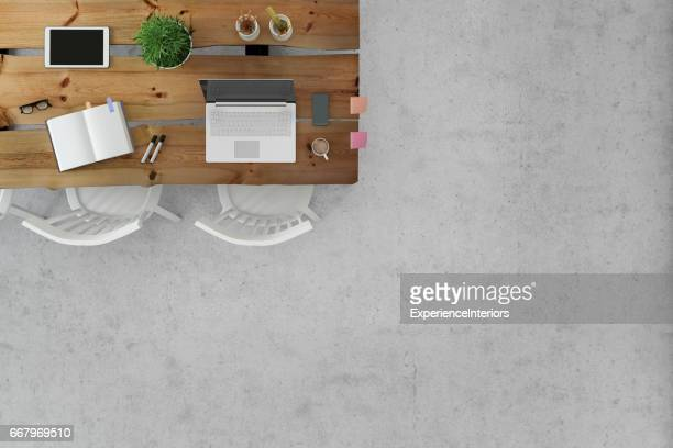 Office desk knolling floor business template copy space