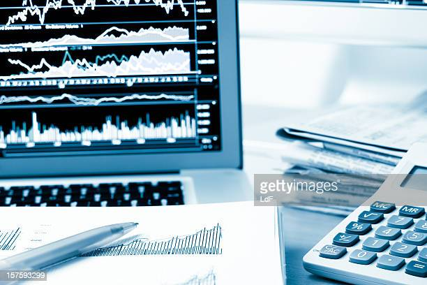 Office desk with financial documents