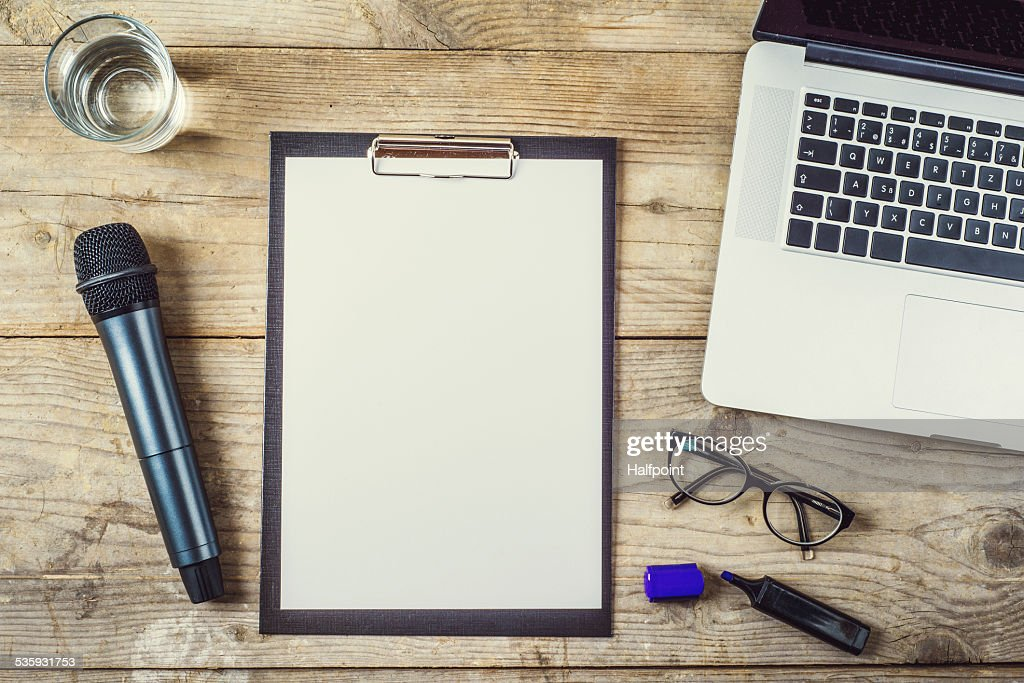 Office desk with various object on it. : Stock Photo