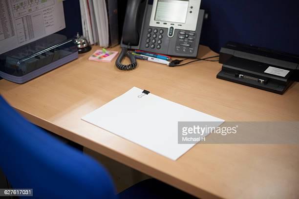 Office desk,blank paper
