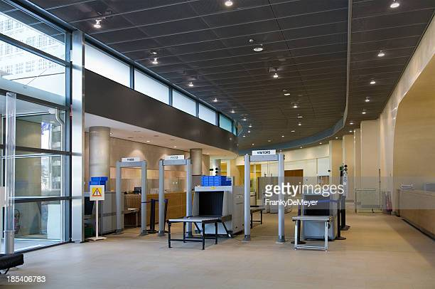 office entrance with security zone - security scanner stock pictures, royalty-free photos & images