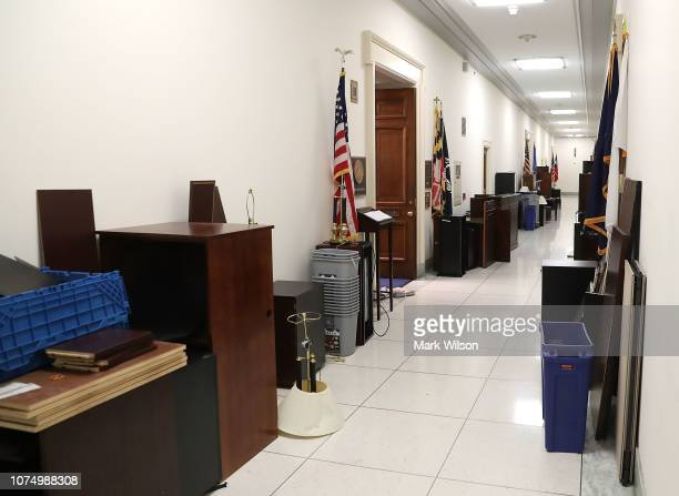Office furniture sits in a hallway of the Rayburn House Office building one week before the start of the 116th Congress on December 26 2018 in...