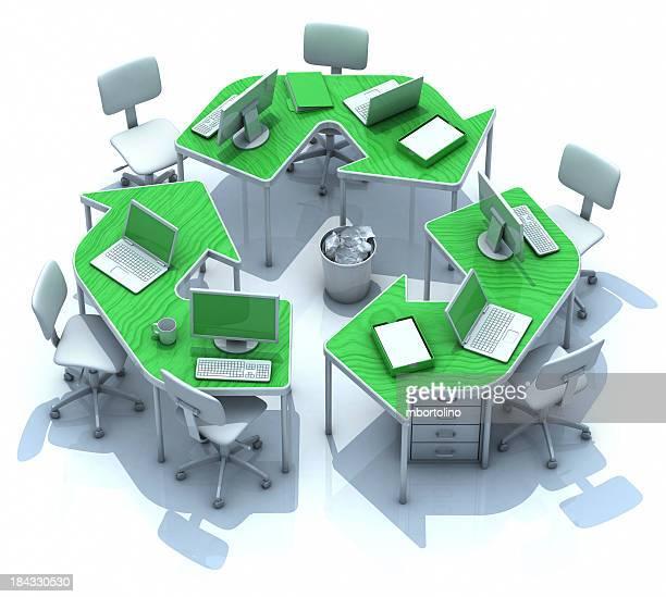 Office green recycling desks