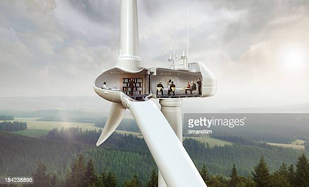 Office inside wind turbine