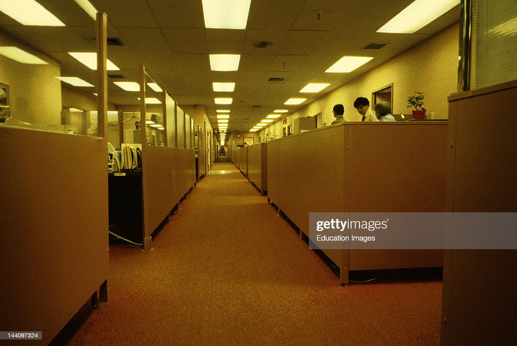 Office Interior With Cubicles And Overhead Fluorescent Lighting.