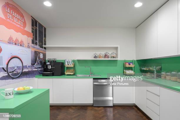 Office kitchen. AxiCom Office, London, United Kingdom. Architect: MZC+, 2019.