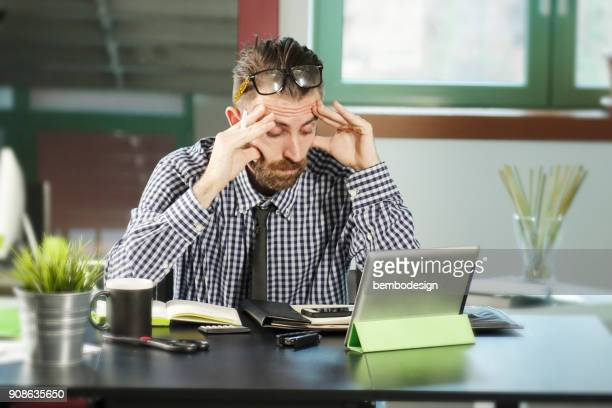 Office man in stressful moments