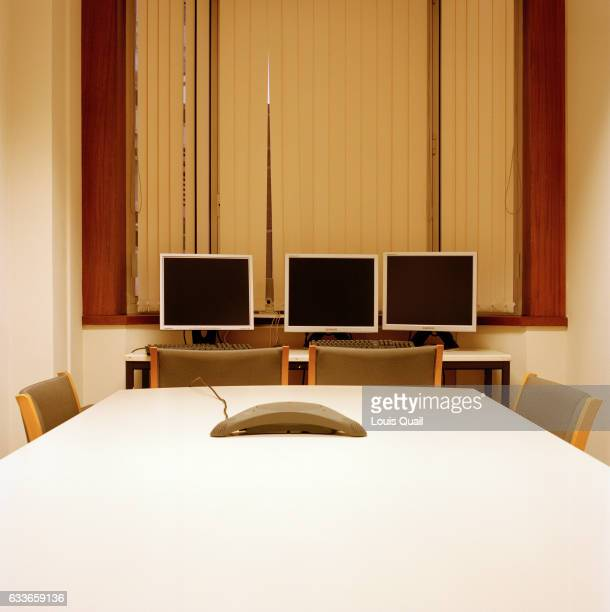 Office meeting room and monitors in London United Kingdom