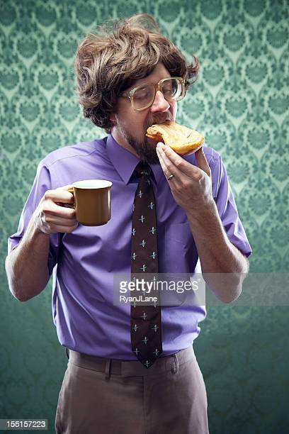 Office Nerd Eating Donut with Coffee