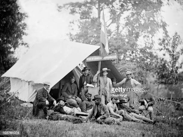 Office of Captain John Brainerd Howard Assistant Quartermaster Army of the Potomac at Fairfax Courthouse VA 1863 Captain Howard is seen reclining...