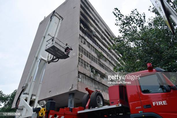 Office of Enforcement Directorate caught fire at Lok Nayak Bhawan Khan Market on August 18 2018 in New Delhi India