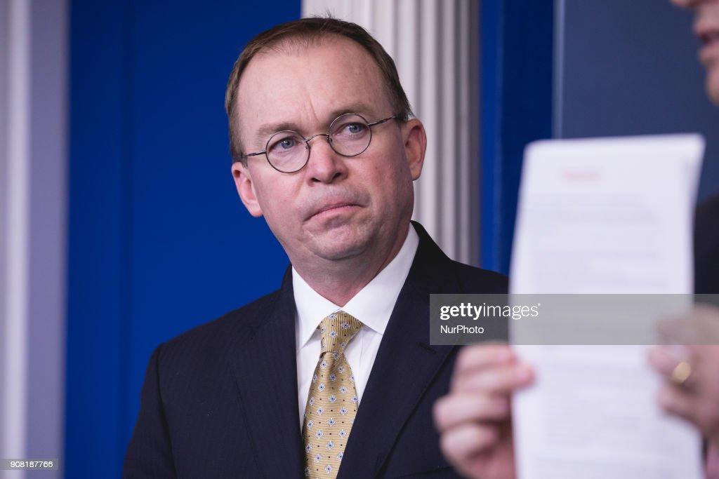 White House Briefing on U.S. Shutdown : News Photo