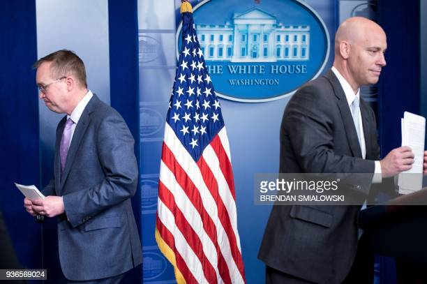 Office of Management and Budget Director Mick Mulvaney and Director of Legislative Affairs Marc Short leave after speaking about the Consolidated...