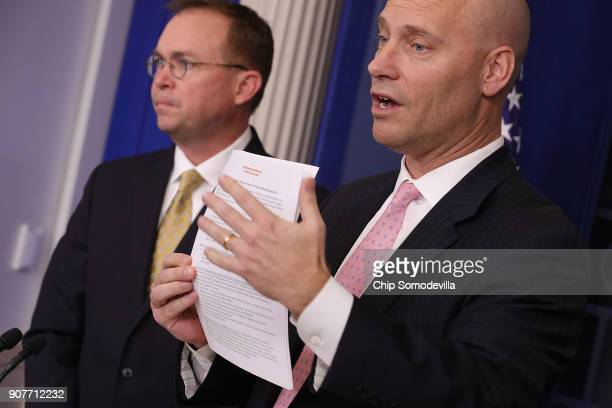 Office of Management and Budget Director Mick Mulvaney and White House Legislative Affairs Director Marc Short hold a news conference about the...