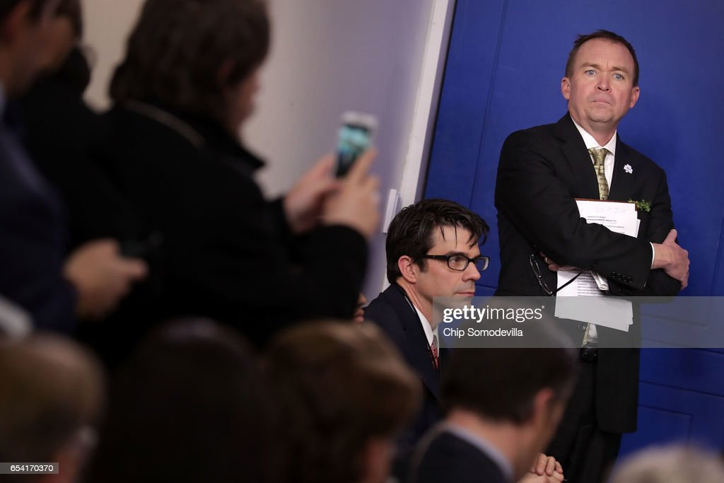 Office of Management and Budget Director Mick Mulvaney arrives for a briefing in the Brady Press Briefing Room at the White House March 16, 2017 in Washington, DC. Mulvaney took questions about President Donald Trump's federal budget blueprint which was released Thursday.