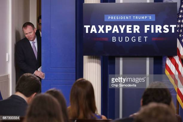 Office of Management and Budget Director Mick Mulvaney arrives for a news conference to discuss the Trump Administration's proposed FY2017 federal...